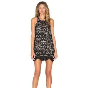 Lovers + Friends Black Caspian Dress Black Lace XS